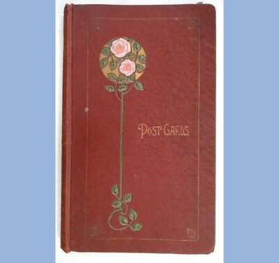 antique SCRAPBOOK FOR POSTCARDS w/TOPIARY COVER+ SLOTTED PAGES