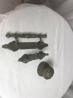 Vtg Gothic Medieval Ornate Metal BACKPLATE Fancy Drawer Door Pull Knob Hardware