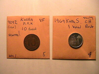 KOREA 2 Scarce Coins 4292 10 Hwan (1959) & 1969 1 Won High Grade ROK  Korean