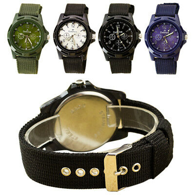 Round Dial Nylon Strap Band Men Boy Military Army Quartz Wrist Watch Gift