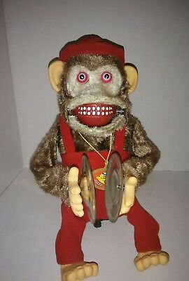 Vintage DEMON monkey playing cymbals, DOES NOT CLAP !! MOTOR RUNS, PARTS ONLY !