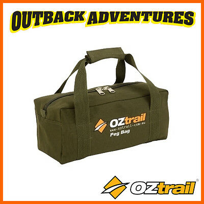 Oztrail Canvas Peg Bag - Camping Tent Peg Storage & Carry Bag With Handles