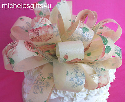 "Large Edible Cake Wafer Paper Bow Ribbon 6""x3"" Flower Pattern Wafer Paper"