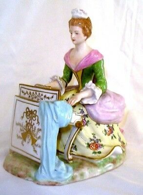 Estate Large Victorian Dresden Women Playing Piano Figurine 1930's