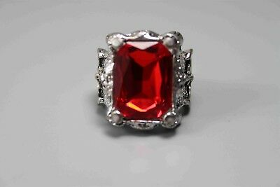 China Decorative Handwork Miao Silver Mosaic Red Jade Delicate Ring