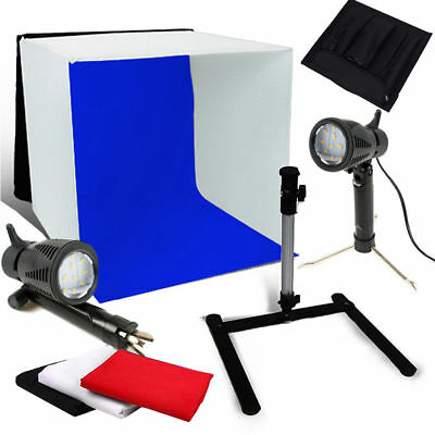 Portable 40CM Photo Studio Sofbox Light Tent Cube 150W LED Lighting 4 Backdrops