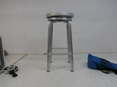 CHAIR DEPOTS Atlantic Aluminum Swivel Backless Stool (AL1030R-BRS) Brushed Silv.