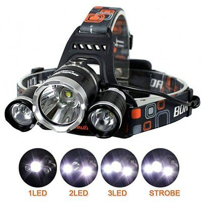 3XCREE XM-L T6 LED Rechargeable Headlamp Headlight Flashlight for Hiking Camping
