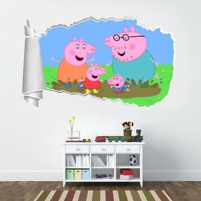 Peppa Pig 3D Torn Hole Ripped Wall Sticker Decal Home Decor Art Mural Kids WT390