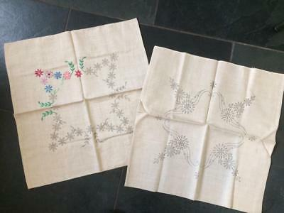 Vintage Linen Cushion Covers to Embroider 2 Floral Designs.