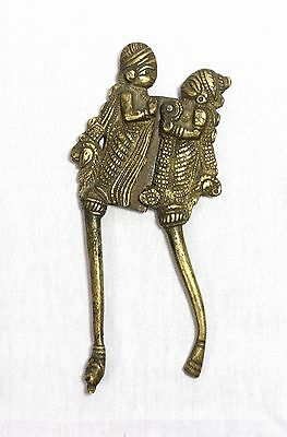 Indian Old Vintage Beautiful Carved Brass Lady Man Shape Betel Nut Cutter Sarota