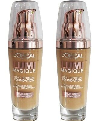 2 x LOREAL 30mL LUMI MAGIQUE LIGHT INFUSING FOUNDATION N4 PURE BEIGE Brand New