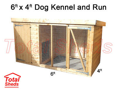 DOG KENNEL AND RUN 6FT x 4FT