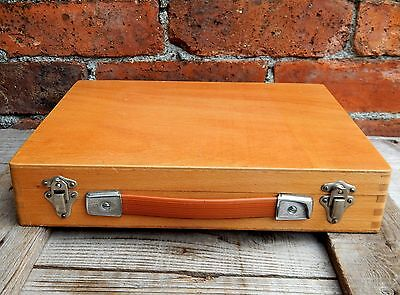Vintage Beach Wood Storage Case Box for 200x Photographic Photo Slides 35mm