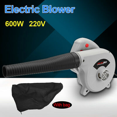 600W 220V Blower Electric Air Blower Hand Held Computer Car Leaf Grass +Dust Bag