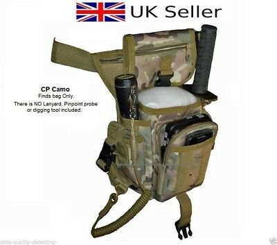 PQDA.Camo Metal Detecting Finds Pouch Bag Pouch, Drop Leg,Probe & Trowel Pockets