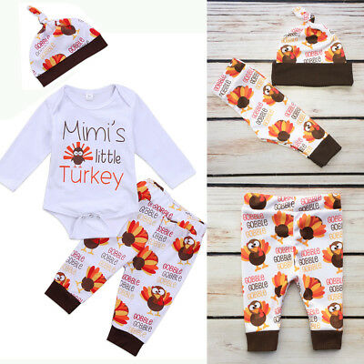 Thanksgiving Day Toddler Baby Boys Girls Top Romper Pants Hat Outfit Set Clothes
