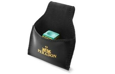 Peradon Black Cue Chalk Pouch Bag Leather pool snooker table chalk holder