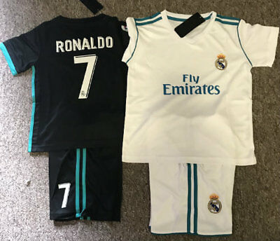 2018 Kids Soccer Jersey #7 Ronaldo Real Madrid Home 1 Sets Jersey And Shorts