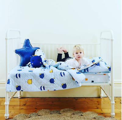 Linens N Things 3 Pc Cot Set Monsters Boys Blue Crib Quilt Blanket Toy Cushion