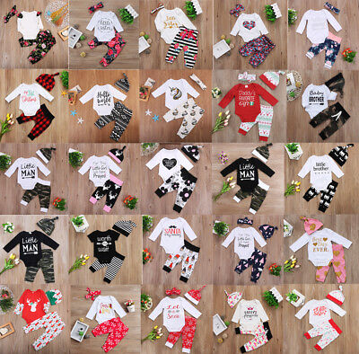 US Stock Newborn Baby Boys Girls Cotton Romper Coming Home Outfits Set Xmas Gift