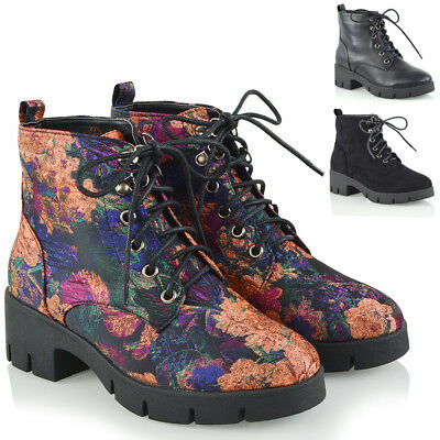 Womens Lace Up Ankle Boots Ladies Combat Platform Biker Military Shoes Size 3-8