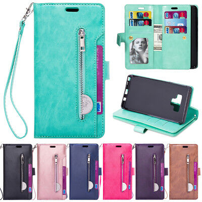 For Samsung Note 9 S9 S8 + Leather Phone Case Flip Card Slot Wallet Zipper Cover