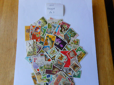 100 used postage stamps from KENYA pk1 no doubles