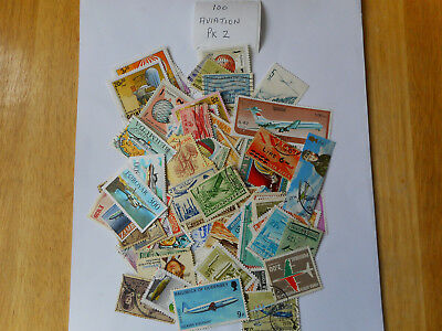 100 used postage stamps AVIATION  pk2 no doubles