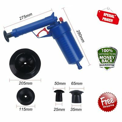 High Pressure Air Drain Blaster Cleaner Toilets Drain Cleaner With 4 Adapters #L