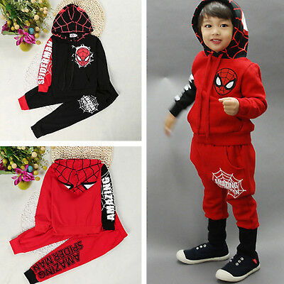 Baby Kids Boys Spiderman Tracksuit Hoodies Top + Jogger Pants Set Casual Outfit
