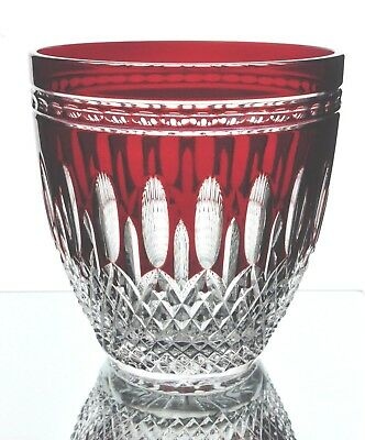 Waterford Clarendon Ruby Red Cut to Clear Cased Crystal Ice Wine Bucket New