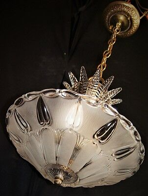 Vintage Deco Era Hanging Chandelier Ceiling Fixture Glass Shade 1950's