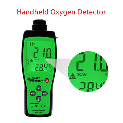 AS8100F Handheld Oxygen Detector Gas Analyzer O2 Tester Sound-light Alarm LCD