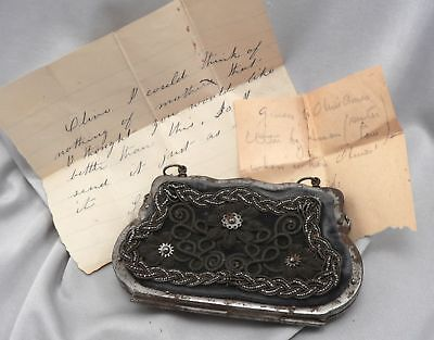 Antique Victorian Coin Purse Silesian Wire Wirework Berlin Iron Velvet c1850