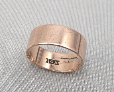Antique Victorian 14K Rose GOLD 7mm Wide CIGAR BAND RING Plain 2.9g Size 6.75