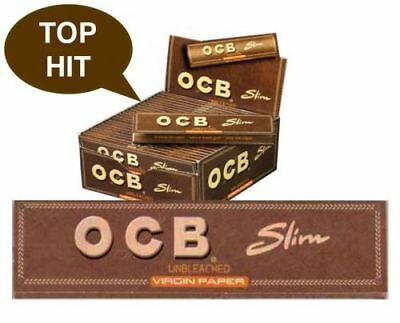 OCB® Unbleached Virgin Slim King Size Papers 50 x 32 Blättchen Braun - TOP HIT