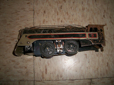 Vintage Marx train for parts Stream lined Steam Locomotive Black red silver