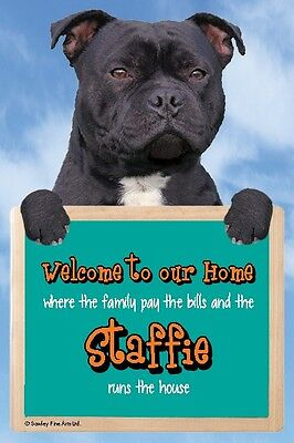 Black Staffordshire Bull Terrier, Staffie,Funny, 3D Welcome Sign