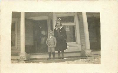 Patriotic~WWI American Red Cross 100% Sign in Window~Kids on Porch~1917 RPPC