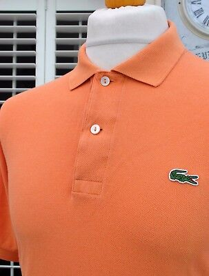 Lacoste Orange Pique Cotton Polo - L/XL - Size 5 - Mod Ska Scooter Casuals Skins