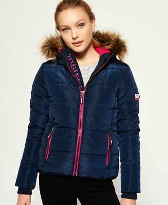 New Womens Superdry Fur Hooded Sports Puffer Jacket Navy