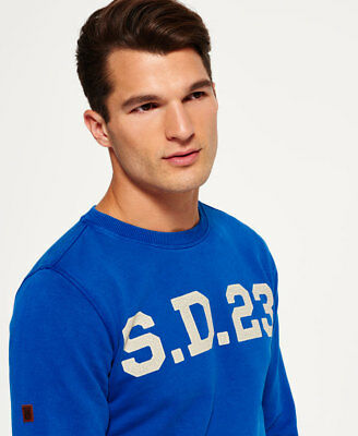 New Mens Superdry Solo Sport Crew Neck Sweatshirt Cobalt Blue