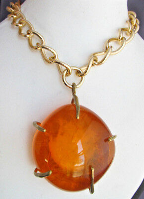Vintage Massive Huge Brass Resin Amber Slag Molten Peacock Eye Pendant Necklace