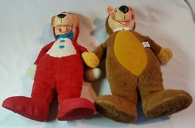 1959 Yogi Bear & Huckleberry Hound Knickerbocker Plush Dolls- Lot of 2- 18""