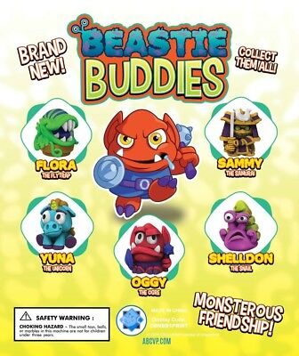 "1"" Beastie Buddies Figurines Vending, Party, Collectibles - 250 Caps + Display"