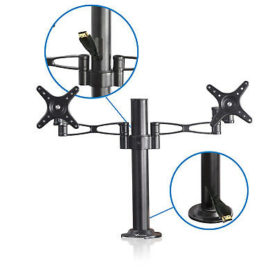 "Double Monitor Arm Desk Mount Computer TV Screen Bracket Dual Stand 10""-27"" inch"