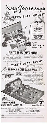 1950 Friendly Acres Dairy Farm & Toy Cleaning Set Kiddie Brush & Toy Co Print Ad