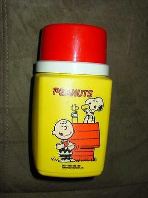 Vintage 1965 KING SEELY - PEANUTS Snoopy & Charlie Brown  THERMOS BOTTLE plastic