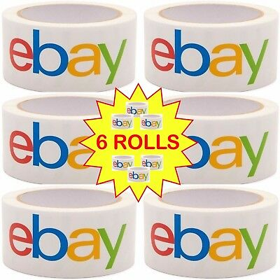 "6 ROLL GENUINE AUTHENTIC Official eBay Branded BOPP Shipping Tape 2 MIL 2"" X 75"